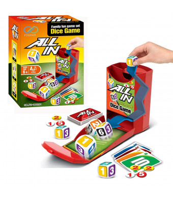 Dice Card Game, PinSpace All In Board Game Family Party Travel Fun Game Set for Kids Ages 6 and Up, 56 Cards 32 Chips 3 Dice