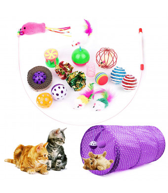 Cottia 16PCS Cat Toys Variety Pack - 2 Way Tunnel, Fluffy Mice, Cat Teaser, Tumbler, Spring and Balls, Interactive Play and Exercise Kitten Toys for Cat, Kitty