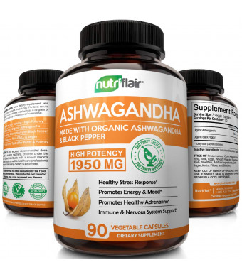 Organic Ashwagandha Capsules - 1950MG with Black Pepper - Best Natural Root Extract Powder Supplements for Stress, Fatigue, Anxiety Relief, Immune, Energy, Mood, Cortisol, Adrenal and Thyroid Support