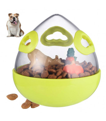 Petacc Dog Treat Ball Interactive Pet Food Leakage Ball Funny Dogs Food Dispenser Practical IQ Treat Dispensing Toy with Transparent Storage Tank for Dogs and Cats, 5.1'' in Diameter