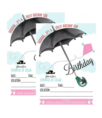 Silly Goose Gifts Mary Poppins Themed Party Decoration Kit Set Bundle (Invitation)