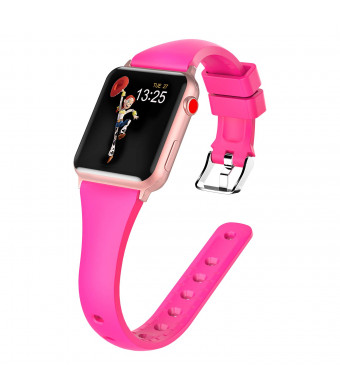 Panrock Compatible for Apple Watch Bands 38mm 40mm,Soft Silicone Sport Band Replacement iwatch Band Wristband Compatible for Apple Watch Series 1/2/3/4,Hermes, Nike+, Edition (Barbie Pink,40mm/38mm)