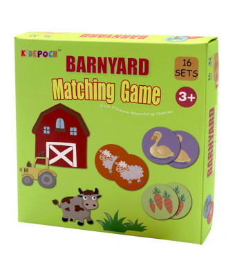 Memory Match Game  16 Matching Pairs Preschool Memory Games Featuring Barnyard Element, Non Toxic Educational Memory Matching Game, Perfect for Kids, Toddlers, 2 Year Old or Up
