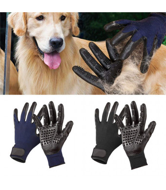 Pet Grooming Gloves Deshedding Brush Glove Pet Hair Removal Glove for Dogs/Cats/Horses LongandShort Fur With Soft Rounded Nubs Five Finger Design Removes Pet Hair,Bathing Shedding Massage Tool for Pet