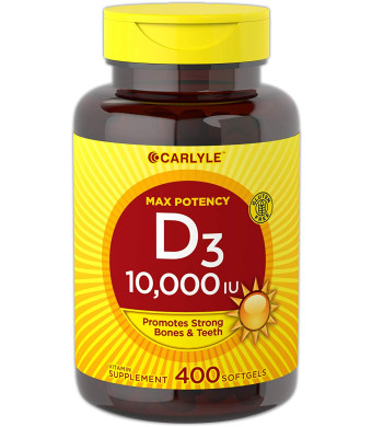 Carlyle Vitamin D3 (10000 IU) Huge Size 400 Softgels | Max Potency | Promotes Strong Bones and Teeth | Non-GMO, Gluten Free Supplement
