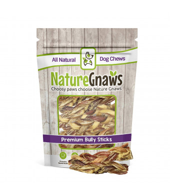 Nature Gnaws Braided Bully Stick Bites - 100% Natural Grass-Fed Beef Chews for Small Dogs