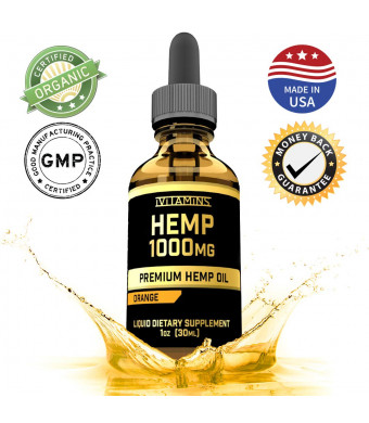 Hemp Oil for Pain Relief 1000mg :: Promotes Healthy Sleep and Anxiety Relief :: Helps with Hair, Skin, Nails, Heart Health:: Rich in Omega 3 and 6 Fatty Acids :: iVitamins Hemp Oil :: Orange Flavor
