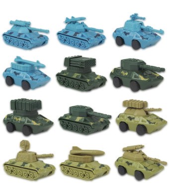 Liberty Imports 12 Pack Kids Wind Up Battle Tanks Model Toys | Fun Army Wind-Up Action Military Vehicles Bulk (1 Dozen)