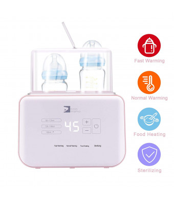 KOLAMAMA Baby Bottle Warmer, Bottle Steam Sterilizer, Baby Food Heater and Smart Thermostat Warmer 4 in 1 Multifunctional Bottle Warmer with Auto Power-Off and Precise Temperature Control