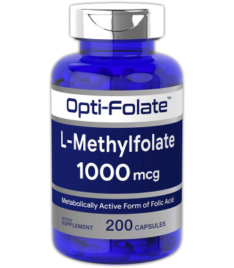 Opti-Folate L-Methylfolate 1000 mcg (200 Capsules) | Optimized and Activated | Huge Size | Non-GMO, Gluten Free | Methyl Folate, 5-MTHF