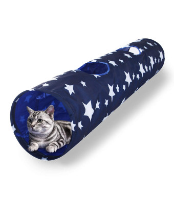 Luckitty Cat Toys Collapsible Large Tunnel Tube with Plush Ball, for Rabbits, Kittens, Ferrets,Puppy and Dogs