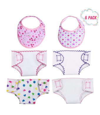 DC-BEAUTIFUL 4 Pcs Doll Diapers Doll Underwear and 2 Pcs Doll Bids for 14-18 Inch Baby Dolls, American Girl Doll