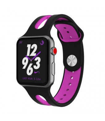 Mostof Compatible for Apple Watch Band 38mm 40mm, Breathable Silicone Sport Bands Strap Replacement Wristband Compatible for Apple Watch 2018 Series 4 (40mm), Series 3(38mm), Series 2, Series 1