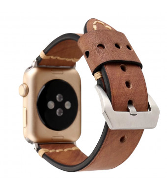 Genuine Leather Watch Band for Apple Watch 38mm/42mm Vintage Strap for Iwatch Series 3 2 1 Mens Womens