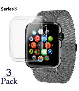 Josi Minea x3 Pcs Protective Snap-On Case with Built-in iWatch 3 Screen Protector - Shockproof and Anti-Scratch Shield [ PC Hard Clear ] Thin Cover compatible with Apple Watch Series 3 [ 38mm - 3 Pack ]