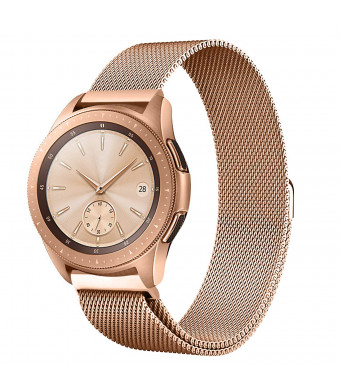 Shangpule Compatible Samsung Galaxy Watch (42mm) Bands, 20mm Milanese Loop Stainless Steel Metal Replacement Bracelet Strap Compatible Galaxy Watch SM-R810/SM-R815 /Gear Sport Smartwatch (Rose Gold)