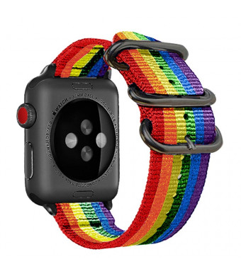 Nylon Compatible for Apple Watch Band 38mm/42mm Rainbow LGBT Colorful NATO Replacement Woven Strap Black Steel AdaptersandBuckle Compatible for iWatch Band Series 3,2,1 Sport Nike+ MenandWomen (38mm)