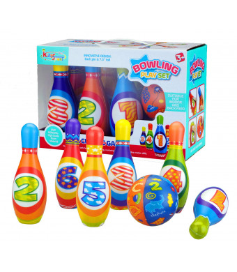 Bo-Toys Kids Bowling Play Set Child Safe Lightweight Pins and Ball Sport Game for Boys, Girls, Toddlers, Children