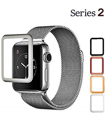Josi Minea 3D Curved Tempered Glass Screen Protector with Edge to Edge Coverage - Anti-Scratch Ultra Thin Ballistic LCD Cover Guard HD Shield Compatible with Apple Watch Series 2 [ 38mm - Silver ]
