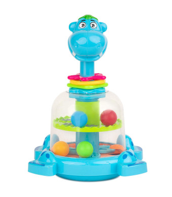 Toy To Enjoy Push and Spin Hippo Toy - Easy Press Button Ideal for Fine Motor Skill Development and Learning Activity - Great for Infants Toddlers 12 Months and Up
