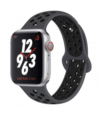 DVEEZIIG Sport Band Compatible with Apple Watch 38mm 40mm 42mm 44mm,Soft Silicone Bracelet Replacement Wristbands Compatible with Apple Watch Sport Series 4 Series 3 Series 2 Series 1