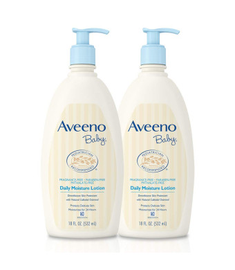 Aveeno Baby Daily Moisture Lotion with Oatmeal and Dimethicone, Fragrance-Free, 18 fl. oz, Twin Pack