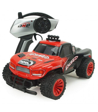 AHAHOO RC Cars 1:16 Scale 2.4Ghz High Speed 15MPH+ Radio Remote Control Monster Trucks 2WD Fast Electric Hobby Vehicle with LED Light and Sound (Red2)