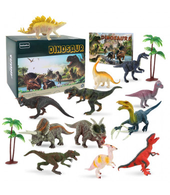15 Pcs Plastic Dinosaur Figure Toys Set with 2 Pcs Trees and Dinosaur Book, STEM Learning Educational Xmas Toys Gifts for 2 3 4 5 6 7 Year Old Boys Girls Toddler Kids