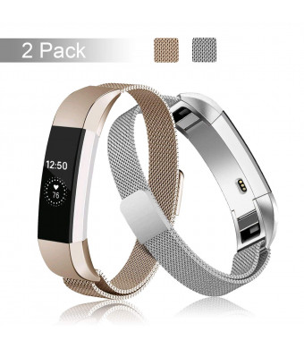 Fundro Compatible Fitbit Alta HR and Alta Bands, Stainless Steel Metal Milanese Bracelet Strap Replacement Wristband Magnetic Lock for Fitbit Alta Women Men
