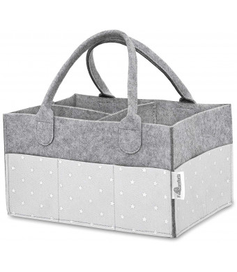 Baby Diaper Caddy Organizer  Stars, Excellent for All Diaper Sizes, Wipes, Nursery Storage Bins, Baby Travel, Changing Tables and Toys - Exclusive Baby Shower Gift