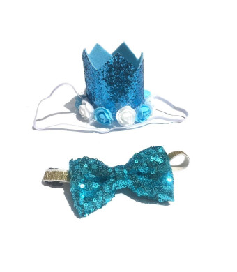 Stock Show Pet Cute Birthday Party Holiday Crown Hat and Blingbling Bow tie Collar Set with Elastic Headband and Flowers Accessories for Small Medium Dogs Cats Kitten Puppy, Blue