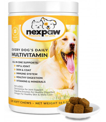 Dog Vitamins With Glucosamine for Joints - Digestive Enzymes and Probiotics for Healthy Digestion + Omegas for Healthy Skin and Shiny Coat  All in One Supplement  120 Wheat-Free Soft Chews