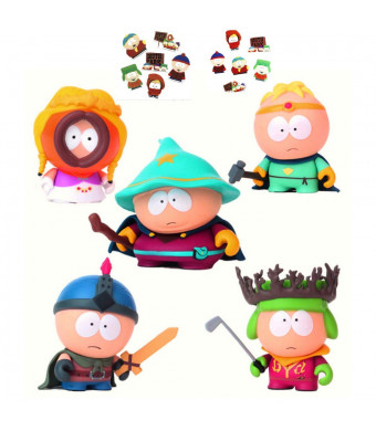 South Park Figures -5 Pcs Playset Collectible Toys Eric Cartman, Stan Marsh, Kyle Broflovski,Grand Wizard,Warrior More Characters 6-8 cm Tall + Bonus Assorted Stickers Card