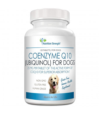 Nutrition Strength Coenzyme Q10 for Dogs Grain-Free Supplement, Ubiquinol - The Electron-Rich Form of CoQ10, Promotes Heart Health, Cognitive and Energy Support for Dogs, 120 Chewable Tablets