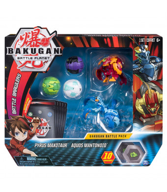 Bakugan, Battle Pack 5-Pack, Pyrus Maxotaur and Aquos Mantonoid, Collectible Cards and Transforming Creatures, for Ages 6 and Up
