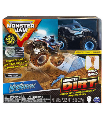 Monster Jam Megalodon Monster Dirt Starter Set, Featuring 8 Ounces of Monster Dirt and Monster Truck