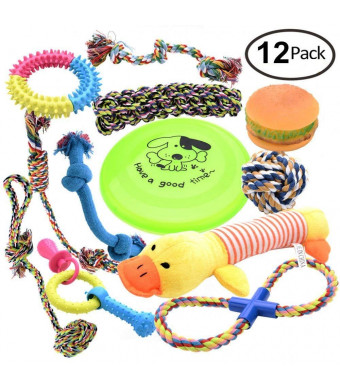 Kelev - Dog, Puppy Chew,100% Cotton Rope Toys - 12 Pack - Small to Medium, Breeds - Dental Health - Teething - Squeak Toy- Tug - Dog Balls - Dog Bones
