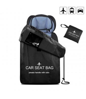 UMJWYJ Large Gate Check Travel Luaage Bag with Backpack Shoulder Straps, Lightweight Baby Car Seat Storage Bag Stroller Carrier Best for Airplanes Trains (Black)