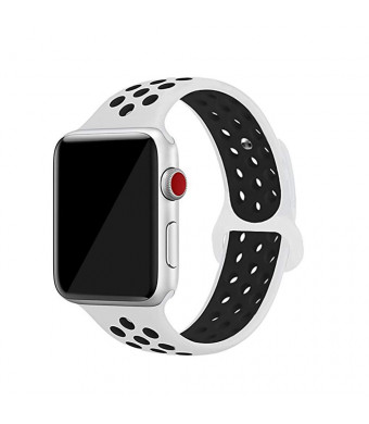 Smart Strap Compatible with Apple Watch Band 38mm/42mm,Men/Women Soft Silicone Sport Bands Replacement Wrist Strap Compatible with iWatch Apple Watch Series 1 Series 2 Series 3 (White-Black, 42mm)