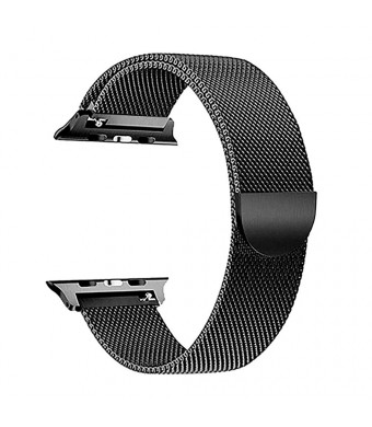 Magnetic Closure Clasp Compatible with Apple Watch Band 42mm/38mm,Men/Women Stainless Steel Closure Clasp Replacement Mesh Strap Bracelet Bands Compatible with iWatch Series 1/2/3 (Black, 42MM)