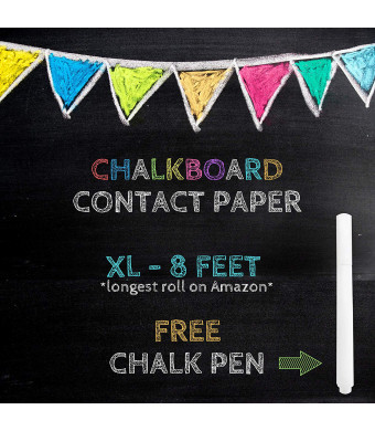 "XL Black Chalkboard Contact Paper - 8 FEET (17.7""W x 96""L) Extra Large Chalk Board Paper Roll Peel and Stick - Removable Self Adhesive Wallpaper Blackboard Wall Decal Sticker - White Chalk Pen Included"