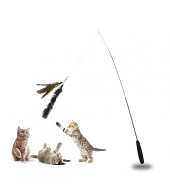 Cat Feather Toy, Interactive Wand Cat Toy Retractable Feather Wand Cat Fishing Pole Catcher Feather for Pets with Bells- 1 Bird and 1 Fur