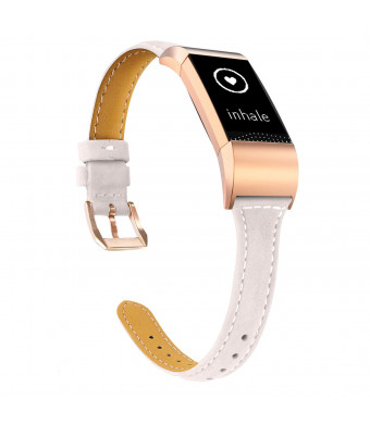 TOYOUTHS Compatible Fitbit Charge 2 Leather Bands, Slim Classic Genuine Replacement Accessories Strap for Women Men Large Small