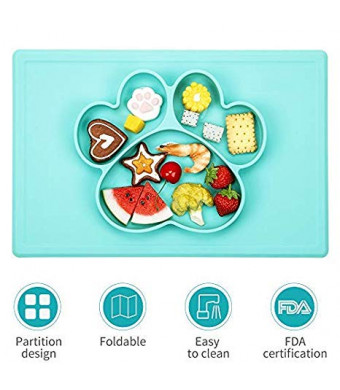 Baby Placemat- Silicone Strong Suction Plates for Toddlers Children Kids, Bear's Paw Feeding Bowl, Portable BPA-Free, Dishwasher and Microwave Safe Silicone Placemat