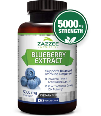 Whole Fruit Blueberry Extract | 5000 mg Strength | 120 Veggie Capsules | Potent 10:1 Extract | 4 Month Supply | All-Natural, Vegan and Non-GMO | Concentrated Source of Antioxidants and Phytonutrients