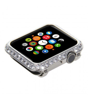 Sparkle Bling Bling Diamond Watch Bezel Case for Apple Watch iWatch S1/S2/S3 Sports and Edition Version Bigger Size 42MM (Platinum Diamonds)