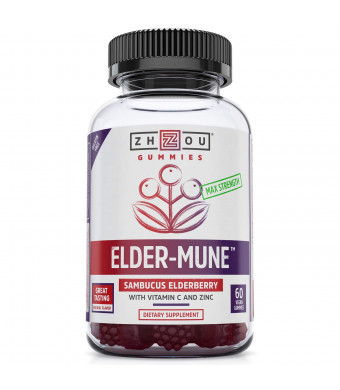 Elder-Mune Elderberry Gummies 125mg, Vitamin-C and Zinc for Optimal Immune System Support, Non-GMO