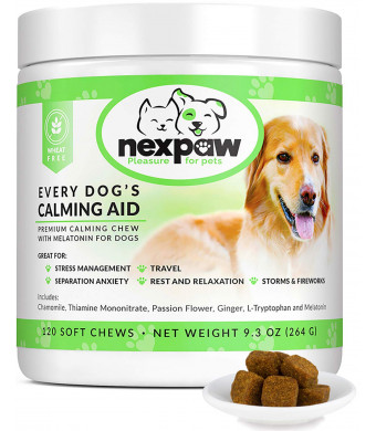 NEXPAW Calming Treats for Dogs with Melatonin - Best for Anxiety from Separation - Thunder - Travel - Safe and Natural Aid - Canine Stress Helper  120 Wheat Free Soft Chews Dogs Love
