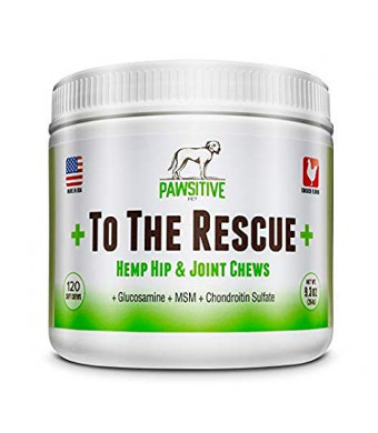 + To The Rescue + Hemp Hip and Joint Supplement for Dogs Glucosamine, Chondroitin, MSM and Turmeric Joint Support for Arthritis Pain Relief and Improved Mobility - 120 Chewable Soft Chews Treats