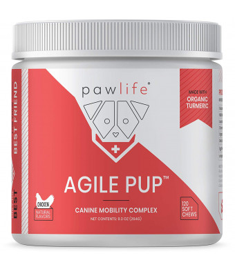 pawlife Glucosamine for Dogs - Joint Supplement for Dogs formulated with Glucosamine, Chondroitin, MSM, Vitamins and Organic Turmeric for Joint Support in Dogs of All Ages - 120 Natural Soft Chews